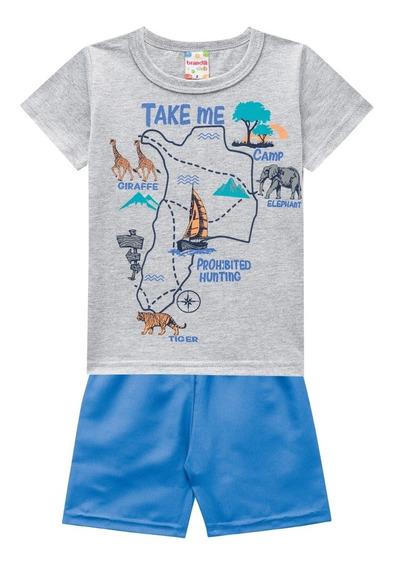 Conjunto Infantil Camiseta E Bermuda Mapa - Brandili