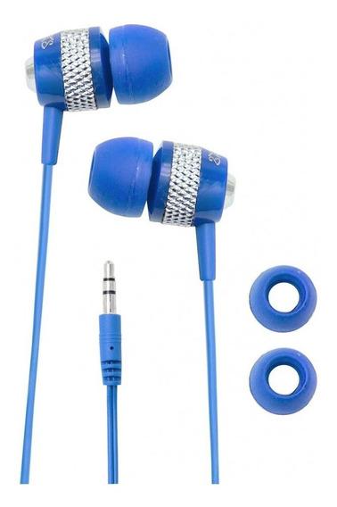 Fone De Ouvido Com Fio Coby Azul - Cve55