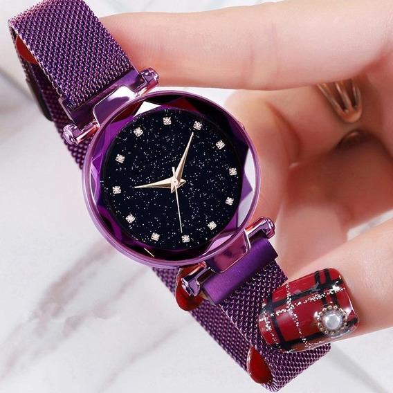 Relógio Feminino Céu Estrelado Sky Ponto Diamante