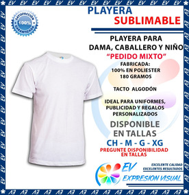 Playera Sublimacion Tacto Algodón Colormake Pedido Mixto