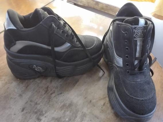 Zapatillas Negro Y Plateado Talle 40 Mujer