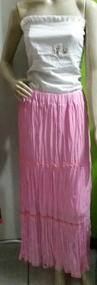 Saia Longa Cigana Verão Rosa Moda Feminina