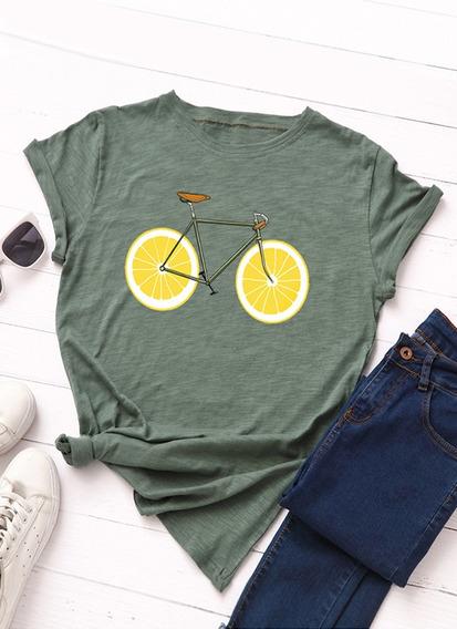 T Confortável Impresso Padrão Bicicleta Limão Brincalhão