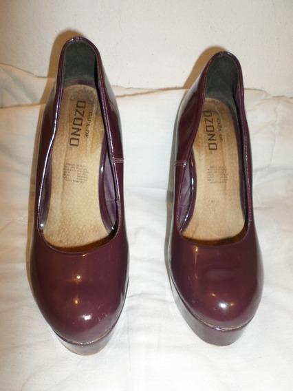 Zapato # 25 Capa Ozono Tacon 12.5 Cm Plataforma 3cm Poco Uso