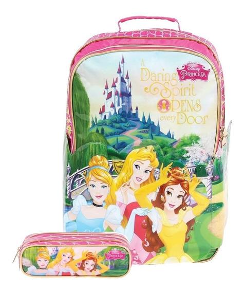 Mochila Escolar Princesas Disney G 37228 + Estojo 37225