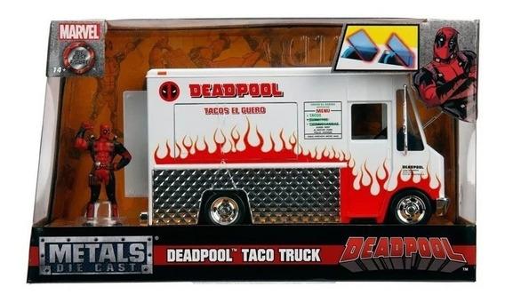 Miniatura Deadpool Taco Truck Com Figura Em Metal 1:24 - Dtc