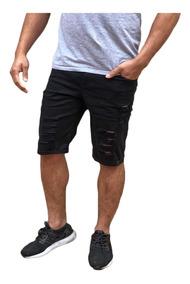 Bermudas Shorts Jeans Rasgada Desfiada Lançamento Destoyed