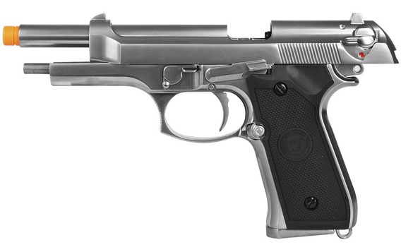 Pistola Green Gás Airsoft Blowback Gbb We M92 Cromada Metal