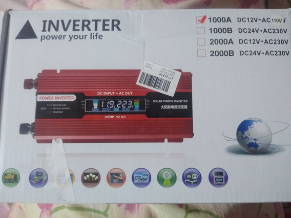 Inversor De Corriente 1000 Watts, 12 V, Pantalla Digital