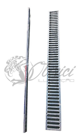 Grelha Ralo Linear 5x48 Sem Suporte Em Alumínio Escovado