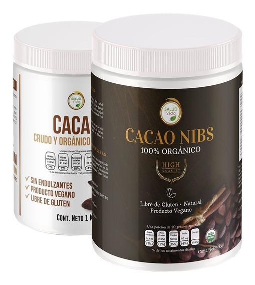 Cacao Nibs Orgánico 1 Kg + Cacao En Polvo Orgánico 1 Kg