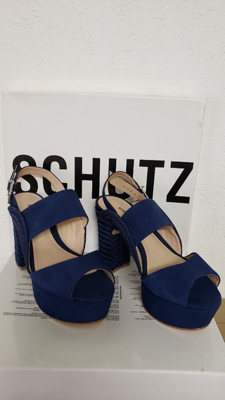 Sandália Kim Salto Bloco Nobuck Dress Blue -schutz
