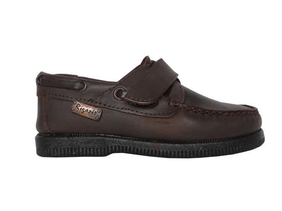 Zapato Náutico Cuero Colegial Rigazio Con Abrojo