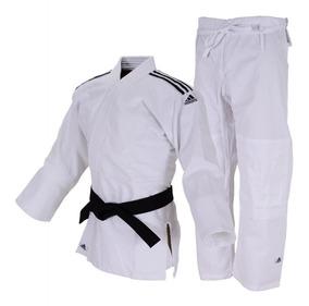 Kimono Judô adidas Club Trançado Branco Com Listras Pretas