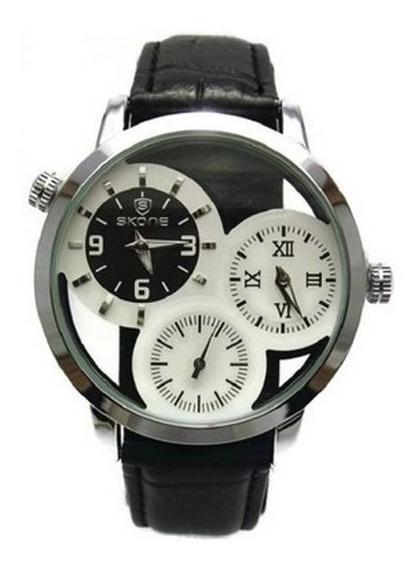 Relógio Masculino Skone Analógico Casual 9274eg Couro Preto