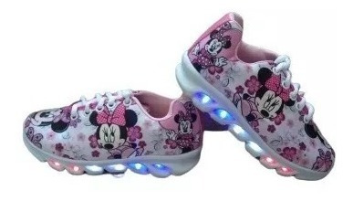 Tênis Infantil De Led Tema Minnie