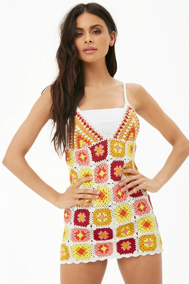 Forever 21 Vestido Salida De Playa Crochet Flores Tejido Med