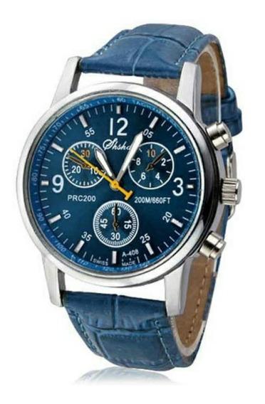 Relógio Pulseira De Couro Azul Aço Fundo Azul
