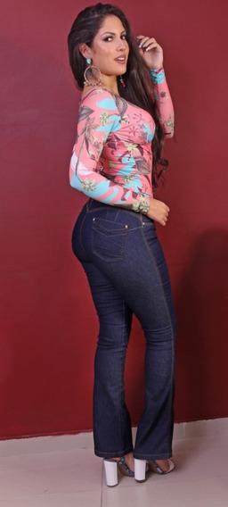 Calças Femininas Jeans Flare De Mulher Strech E Elastano