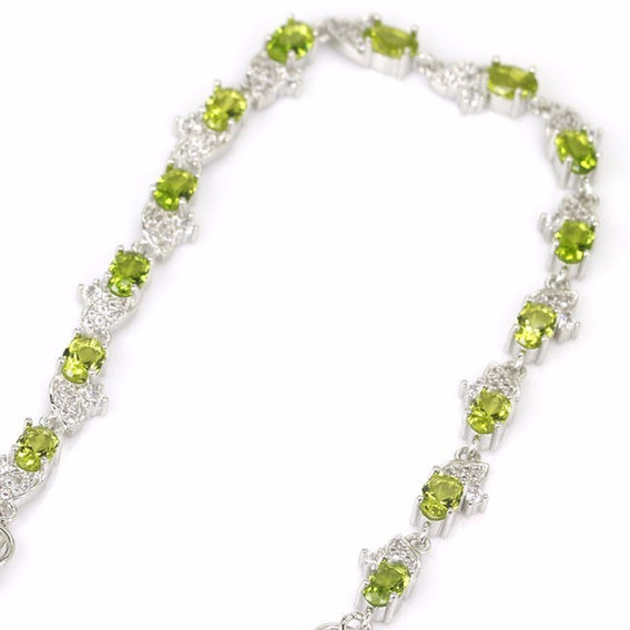 Pulseira Prata Esterlina Peridoto E Diamantes