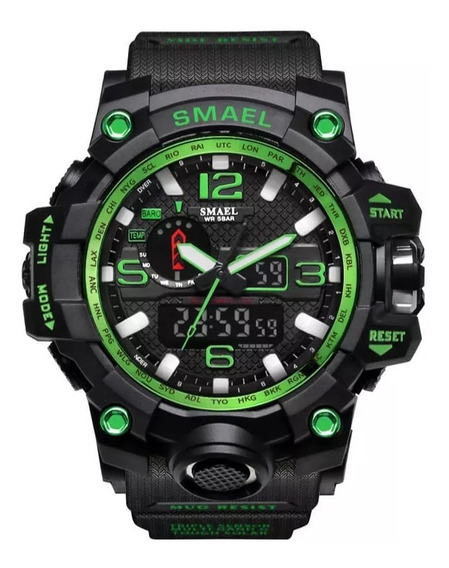 Relógio Smael Esportivo 1545 Verde Resistente A Água