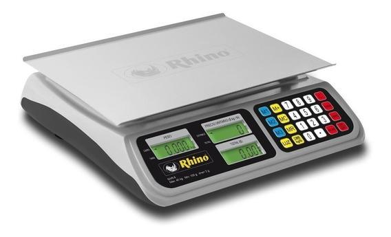 Báscula comercial digital Rhino BAR-8RS 40 kg 110V blanco/gris