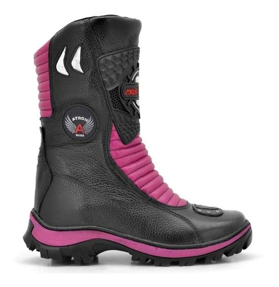 Bota Motociclista Feminina Atron Shoes 302 Couro Cores Top+++