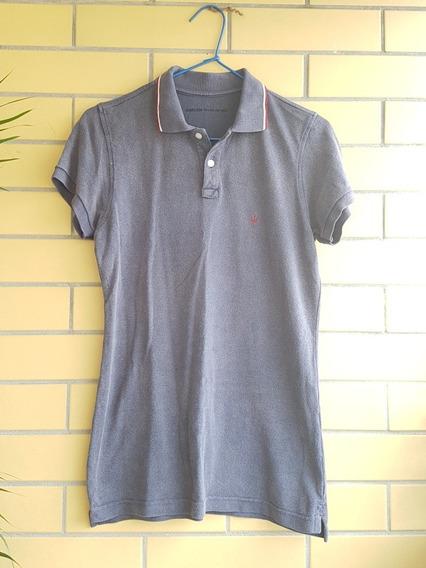 Camisa Polo Feminina Osklen M/42 Cinza Usada