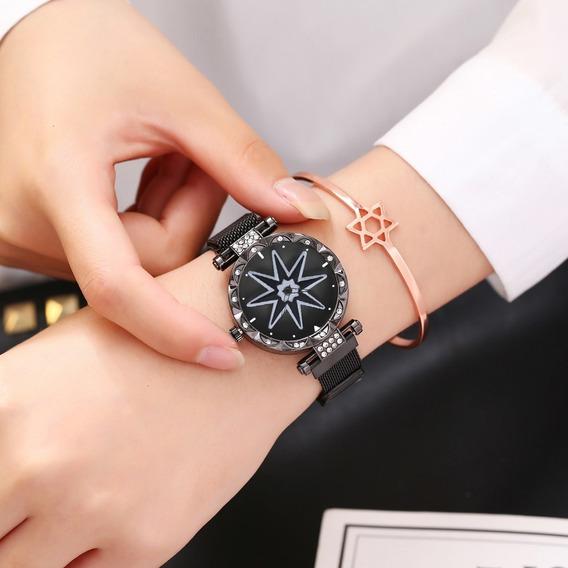 Relógio Feminino Flor Rotativa Com Pulseira Magnetica