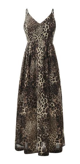Vestido Largo Escote En V Estampado De Leopardo Para Mujer