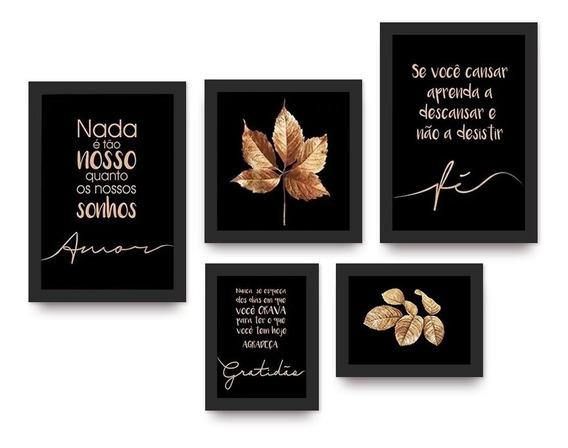 Kit 5 Quadros Decorativos Folhas E Frases Douradas Com Vidro