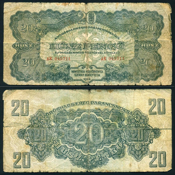 Hungría Billete 20 Pengo Año 1944 - Ocupación Rusa 2° Guerra