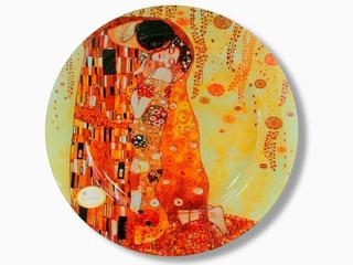 Plato En Cristal Redondo 40cm El Beso Klimt En Fondo Claro