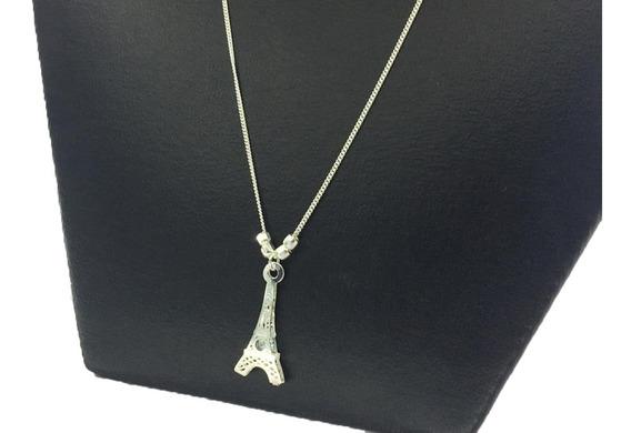 Collar Dije Torre Eiffel Plata Ley925 Con Piedra De Zirconia