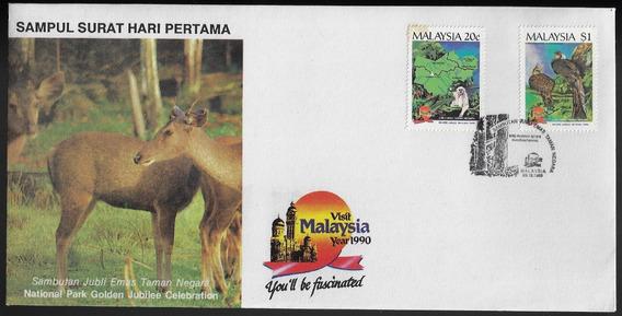 Malásia 1990 Fdc Com 2 Selos Alusivos Fauna Macaco E Ave