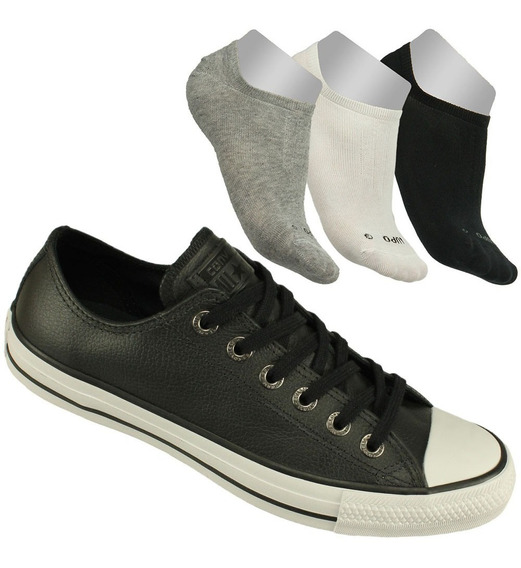 Kit Tênis Converse All Star Cano Baixo Preto + 3 Meias Lupo!