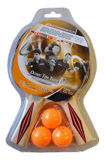 Set 2 Paletas Ping Pong Donic Champs 300 Con 3 Pelotitas