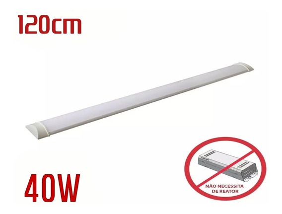 Luminaria Tubular Sobrepor Linear 1,20cm Calha 40w Kit C/2
