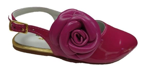 Sapatilha Infantil Feminina Amoreco Pink Com Flor 6188