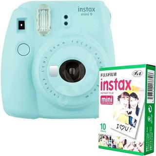 Cámara Instax Mini 9 Instax Azul Hielo +rollo De 10 Pelicula