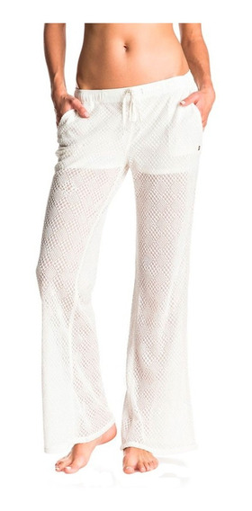 Pantalones Dama Acampanados Cintura Elástica Blanco Roxy
