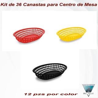 3 Docena De Canasta Tipo Fast Food Color Negro Rojo Y Amaril