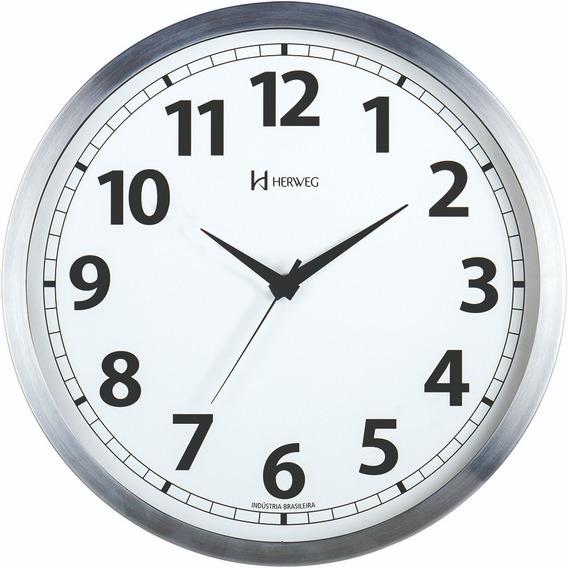 Relógio De Parede Tic-tac 25 Cm Aluminio Escovad Herweg 6710