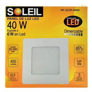 Panel De Luz Soleil Cuadrado 40 W Dimerizable Spl 6w