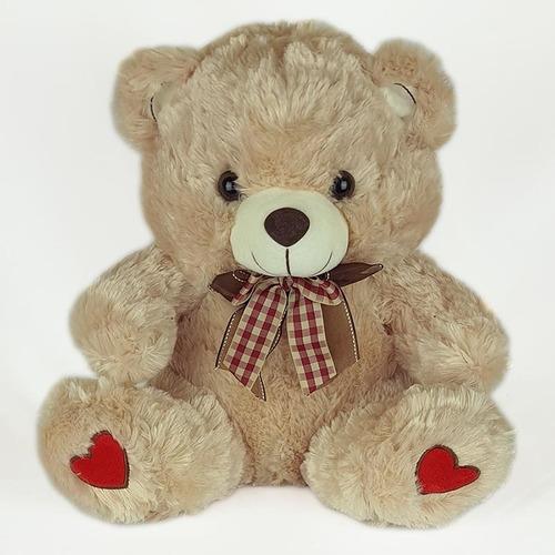 Urso De Pelúcia 35cm Bege Coração