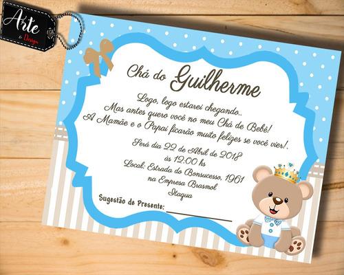 Imagem 1 de 1 de 60 Convites Personalizados Chá De Bebê Urso Rei M01