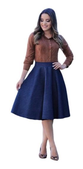 Saia Midi Godê Rodada Jeans Moda Evangélica Roupa Feminina