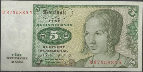 Alemania Federal 5 Mark 2 Ene 1970 P30a