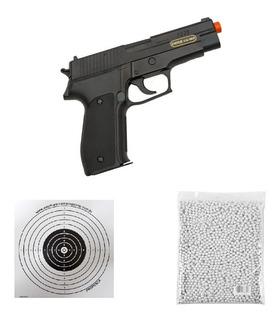 Combo Pistola Airsoft Sig Sauer P226 Mola Ferrolho Metal 6mm