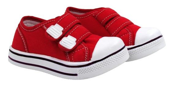 Tênis Escolar Infantil 18 Até 34 Casual Lona Ajuste Velcro
